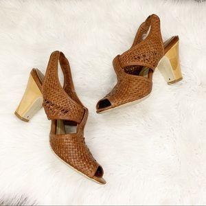 Frye Ramsey Slingback Woven Leather Sandal Tan